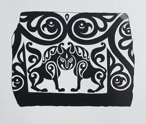 Каменный рельеф с изображением парных лвов с общей головой.Кубачи.XII-XIII вв. ГЭ, Санкт-Петербург