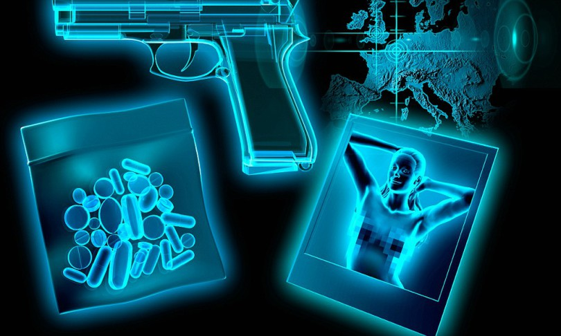 C8X6AY X-ray of pills, gun, and photograph of nude woman on map of Europe. Image shot 2011. Exact date unknown.